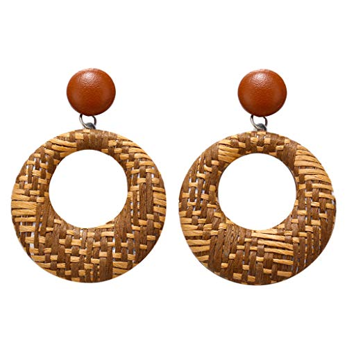 FEDULK Womens Boho Rattan Round Dangle Earrings Jewelry Weave Wood Bamboo Drop Statement Earrings(Brown)