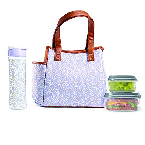 Fit & Fresh Insulated Lunch Bag Cooler Bag Tote Bag Kit for Women/Work/Picnic/Beach, Reusable Containers, Water Bottle, Westerly, Lavender Stamped -