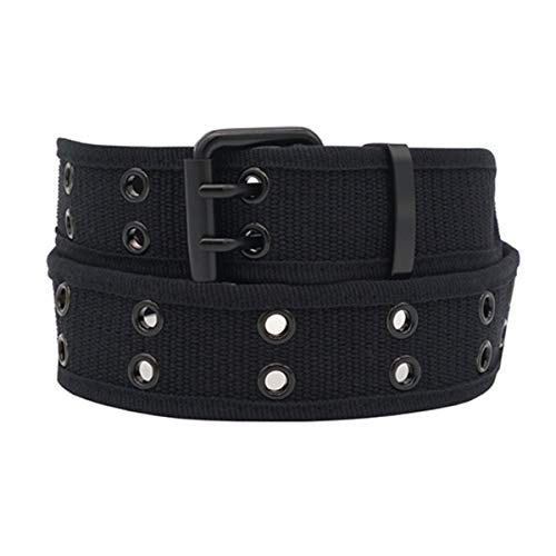 ZTXION Web Canvas Belts for Men & Women, Double Hole Grommet Webbing Waist Belt, Black
