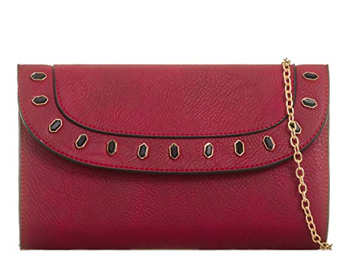 Bag Handbags Faux Wedding Burgundy Leather LeahWard 2062 Women's Purse Clutch qf6Ha
