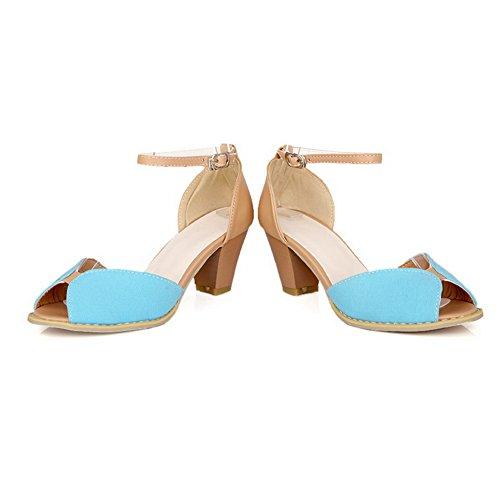 Amoonyfashion Donna Open Peep Toe Tacco Medio Con Sandali In Pu Con Colori Assortiti E Filo Blu