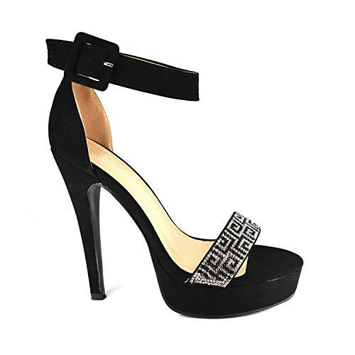 (GottaBe Shoes Women's Open Toe Ankle Strap Crystal Rhinestone Chunky Platform High Heel Dress Sandal (6.5, Black))