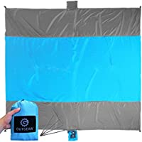 OUTGEAR Sand Free Compact Outdoor Beach Blanket Includes Four Stakes & Sand Anchors