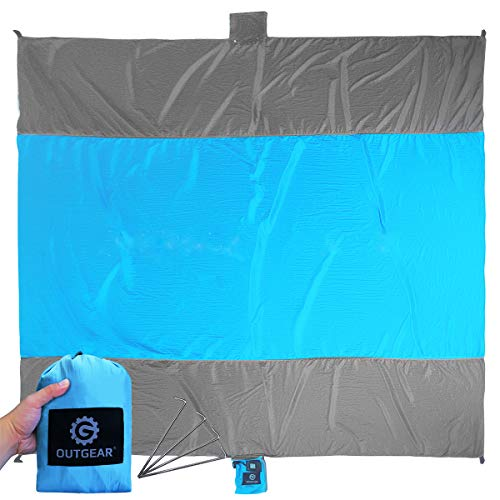 Outdoor Beach blanket Sand Mat Sandproof, Oversized 9 x 10 feet for Picnic Hiking Camping, Quick Drying Lightweight and Durable, Made of 100% Parachute Nylon, Includes Four Stakes & Sand Anchors
