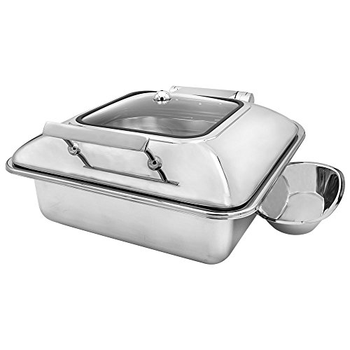 Cater Strong - 6 qt. Square Stainless Induction Chafer w/Window
