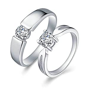 Gnzoe Men Wedding Rings Austria Cubic Zirconia Rings Princess Cut 5mm, Silver (Price One Pc)