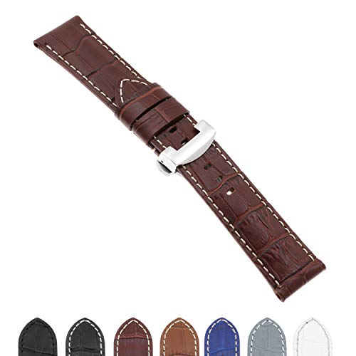 DASSARI Croc Crocodile Embossed Leather Men's Watch Band Strap with Polished Silver Deployant Deployment Clasp Compatible with Panerai - 22mm 24mm 26mm (Mens Croc Embossed Leather)