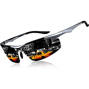 ATTCL Men's Sports Polarized Sunglasses Driver Golf Fishing Al-Mg Metal Frame 2206 GrayGray