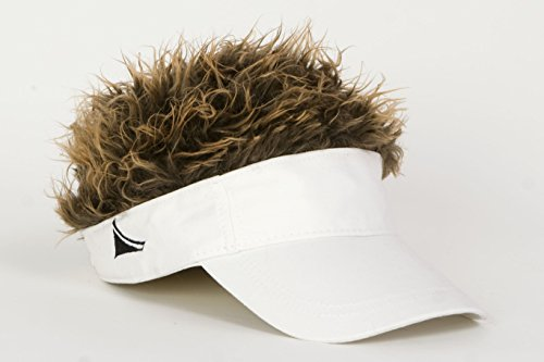 Flair Hair Novelty Adjustable Visor with Spiked Hair Joke/Gag Visor/Hat/Cap (Hair Hat Visor)