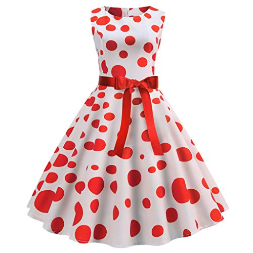 Willsa Womens Dresses, Vintage Sleeveless Dot Print Casual Evening Party Prom Swing Slim Bow Dress Red