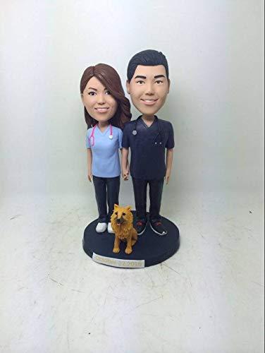 Surgical Nurse Personalized Wedding Cake Topper Nurse Bobble Head Clay Figurine Nurse Bride Nurse Groom Nurse Cake Topper Nurse Wedding Gift