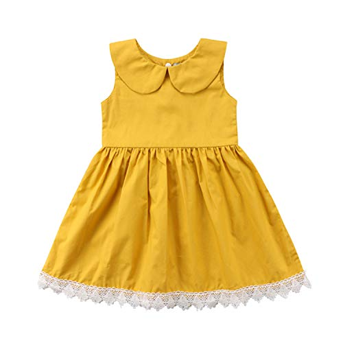 Fashion Toddler New Toddler Kids Baby Girls Clothes Lace Cotton Princess Tutu Dress Party Brithday Dresses New Yellow 3T
