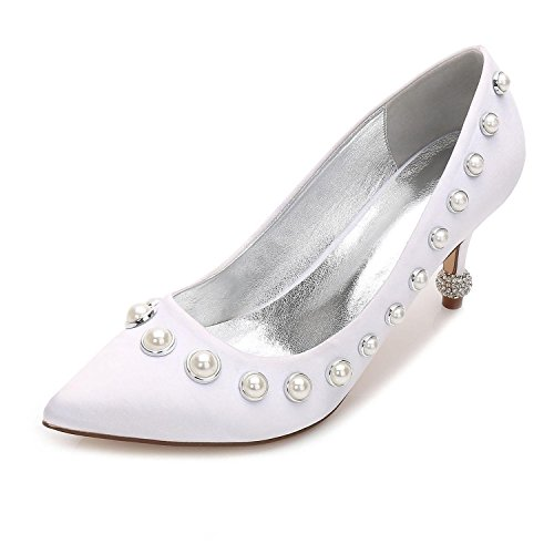 amp; De Zapatos L Stiletto Mujer 23 F17767 Party Evening Wedding White yc ATqwz