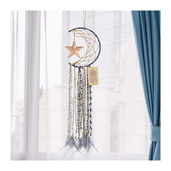 Dremisland Blue Dream Catcher Handmade Half Circle Moon Design Dream Catcher Feather Hanging with Star Home Decoration… - Material: Metal circle, Wood beads, Natural feather, cotton Lace,Vintage Star Diameter size:20m/8 inch, total length:64cm/25inch Unique Star design Creates a festive and cheerful atmosphere for the room. - living-room-decor, living-room, home-decor - 41VVUrmrmzL. SS570  -