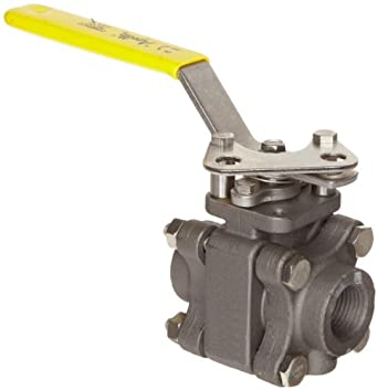 Apollo 83B-140 Series Carbon Steel Ball Valve with Stainless Steel 316 Ball and Stem, Three Piece, Inline, Class 600, Lever, NPT Female