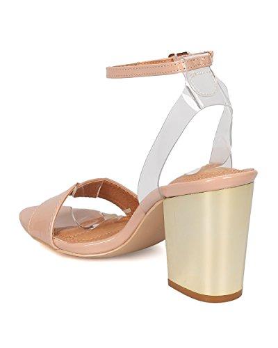 Sandalo Con Tacco Blazer In Vernice Donna Alrisco - Dressy, Formale, Party - Cinturino Alla Caviglia - Ge46 By Nude