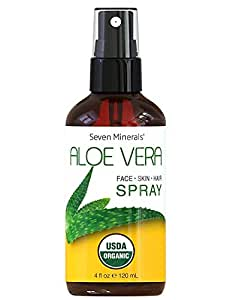 1 USDA Organic Aloe Vera Spray by Seven Minerals - 100% Pure Organic Aloe, With No Toxic Chemicals, Thickeners Or Preservatives
