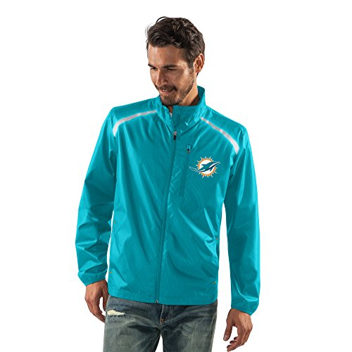 Miami Dolphins Mens Jackets (NFL Miami Dolphins Men's Storm Full Zip Packable Jacket, Large, Aqua)