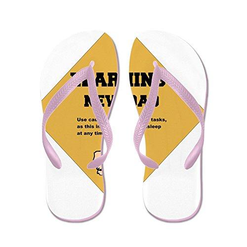 CafePress Warning New Dad 2 Flat - Flip Flops, Funny Thong Sandals, Beach Sandals Pink