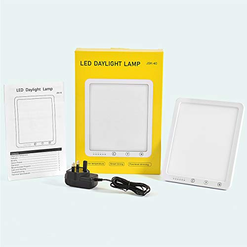 Daylight Lamp,Aogled 10000 Lux Natural Daylight LED Light Box with Timer Function,Touch Control,Sunlight Energy Lamp with 5 Adjustable Brightness 3000K-6500K,SAD Lamp for Home/Office/Apartment