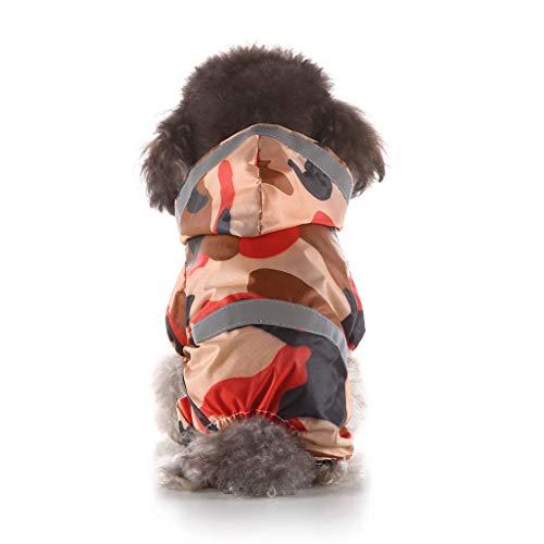 Conwinart Pet Dog Raincoat, Small Large Pets Dogs Cats Rain Poncho Sport Adjustable PU Orange Mint Green Camouflage Patterns Reflective Weather-Proof Pet Rainbreaker Jacket