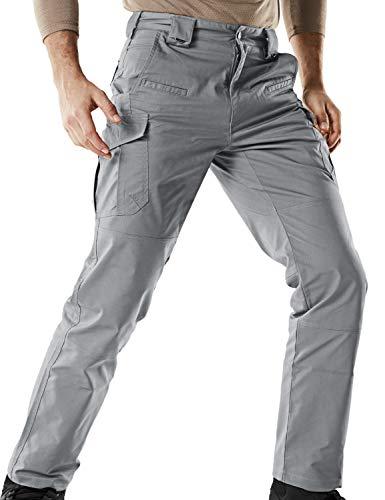 CQR Men's Tactical Pants Lightweight EDC Assault Cargo, Flex Hidden D Ring(tfp513) - Stone, 38W/34L