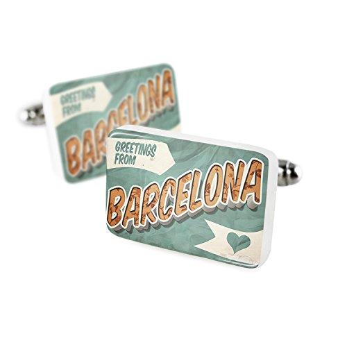 NEONBLOND Cufflinks Greetings from Barcelona, Vintage Postcard Porcelain Ceramic