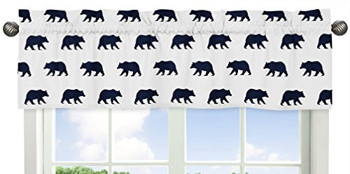 Sweet Jojo Designs Navy Blue and White Window Treatment Valance for Big Bear Collection