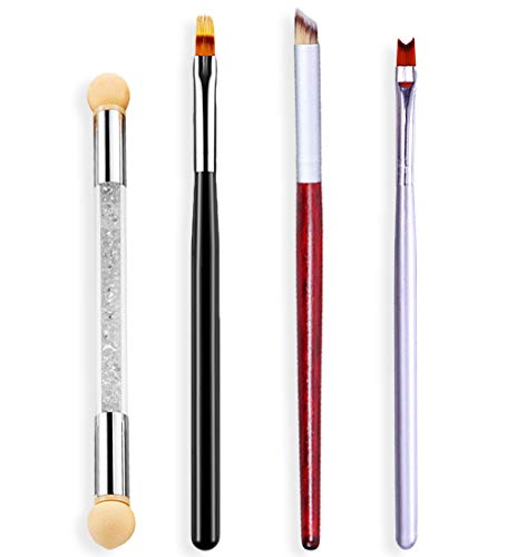 SILPECWEE 4 Pcs Professional Nail Brush For Acrylic Application Nail Gradient Shading Pen Ombre Nail Painting Brushes French Manicure Brush Set