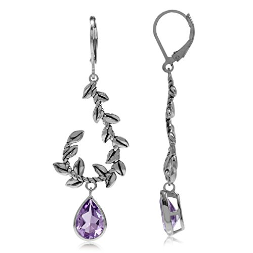3.18ct. Natural Amethyst White Gold Plated 925 Sterling Silver Vine Leaf Leverback Dangle Earrings
