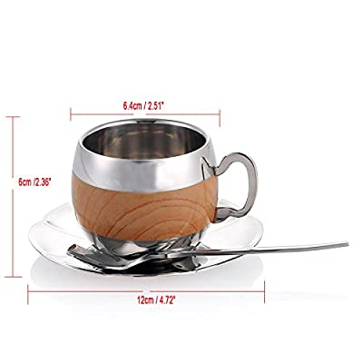 Stainless Steel Coffee Cup Coffee Mugs Espresso Cups and Great Cappuccino Cups with Spoon and Saucer Gift Idea for Coffee and Tea Lovers