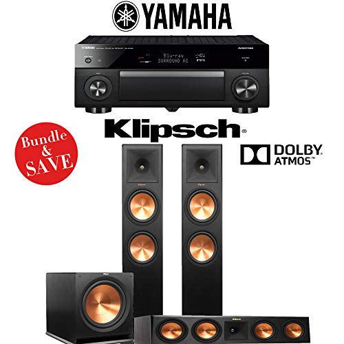Klipsch RP-280FA 3.1.2-Ch Reference Premiere Dolby Atmos Home Theater Speaker System with Yamaha AVENTAGE RX-A1080 7.2-Channel 4K Network A/V Receiver