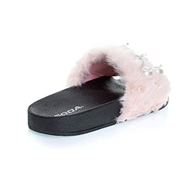 Soda Eyeball Fur Slide on Slip On Slippers Furry with Pearls