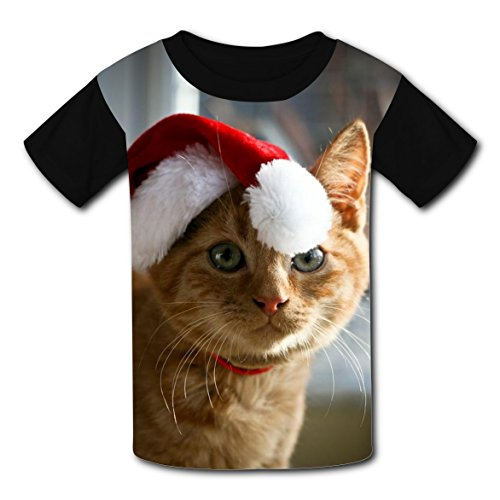 BYTimz Christmas Cat T-shirts Printed Crew Neck Tops for Teen Boys Girls