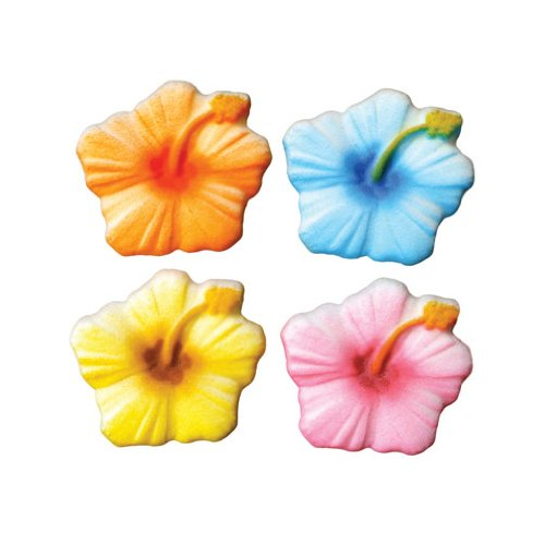 - Hibiscus Sugar Decorations Cookie Cupcake Cake Easter Flowers 12 Count