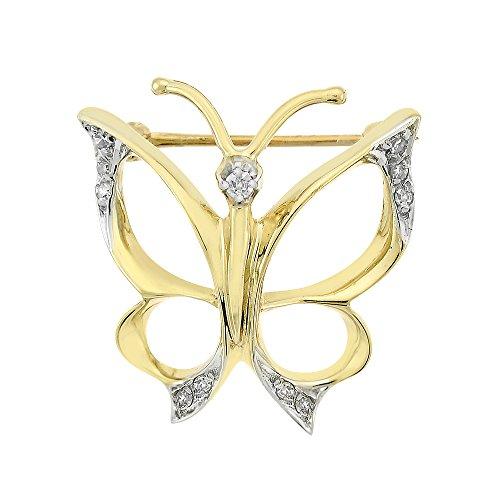 Avital & Co. 0.10 Carat Diamond Vintage Butterfly Pendant Brooch 14K Yellow Gold (Butterfly Diamond Brooch Pin)