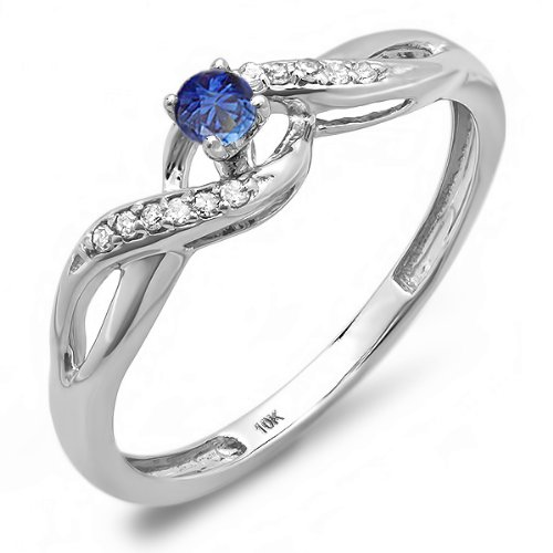 10K White Gold Round Blue Sapphire & White Diamond Crossover Swirl Ladies Bridal Promise Ring (Size (Diamond Swirl Promise Ring)