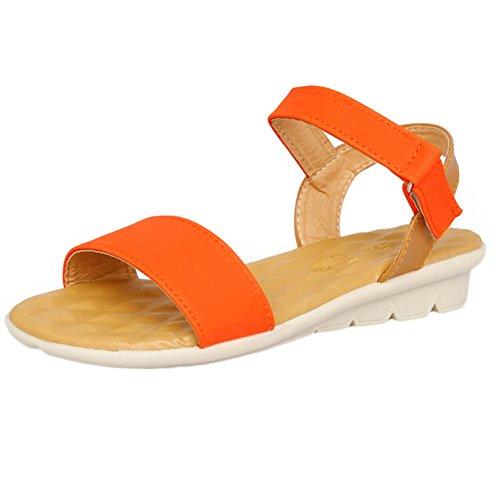 Scothen Sandalias de tacón Casual tarde Peep Toe mujeres de las sandalias planas de la hebilla de las sandalias romanas sandalias planas del Rhinestone correa del clip zapatos deslizadores de Bohemia Orange
