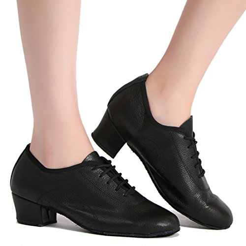 TDA Womens A2012 Classic Simple Style Lace-up Synthetic Ballroom Evening Wedding Modern Latin Dance Shoes Style 2 Black-4.5cm Heel Iu9wccE
