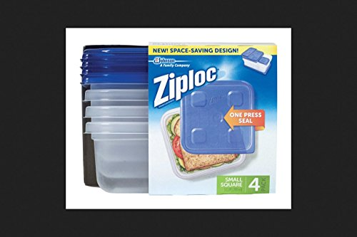 Ziploc Container, Small Square – 40 oz – 4 ct