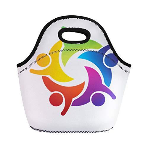 (Semtomn Lunch Bags Circle Orange People Teamwork Hi Red Unity Happy Support Neoprene Lunch Bag Lunchbox Tote Bag Portable Picnic Bag Cooler Bag)