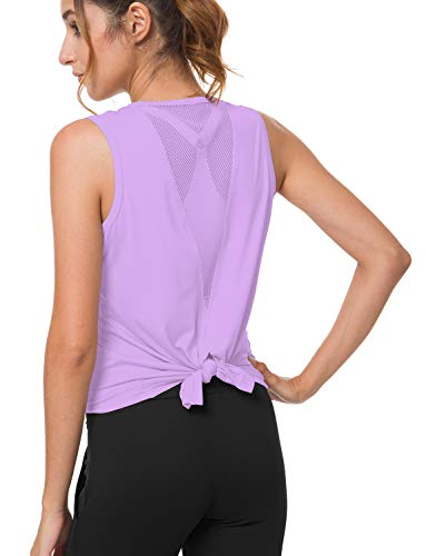 (Bamans Women's Stretch Yoga Workout Shirts Sleeveless Flowy Loose Fit Mesh Sports Tank Tops Exercise Clothes Purple Medium)