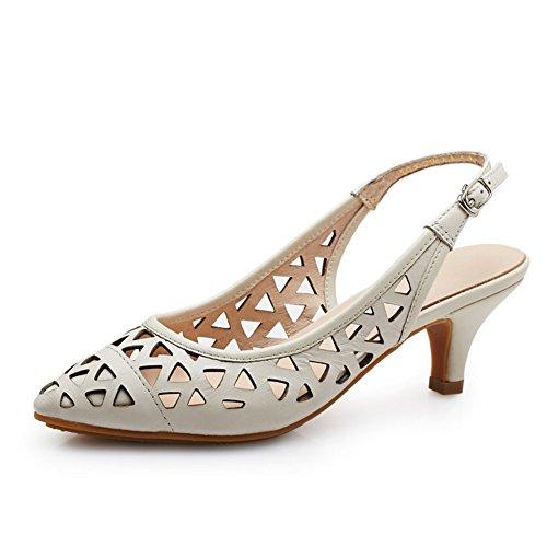 PUMPS Leder Heels,Stöckelschuhen,ein Wort der Gezeiten Schnalle Die Spitze der Baotou Hohlen Sandalen-C Fußlänge=21.8CM(8.6Inch)