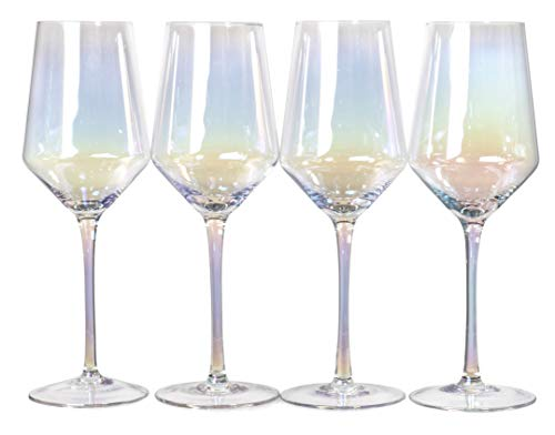 Deluxe Electroplated Long Stem Wine Glasses with Rainbow Effect, Set of 4 (16 fl oz)