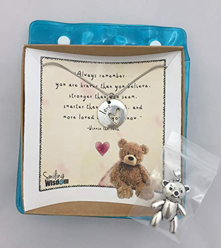 Smiling Wisdom - Winnie the Pooh Bear Heart Encouraging Quote Gift Set - Double-Sided Love Heart Pendant Necklace Jewelry for...