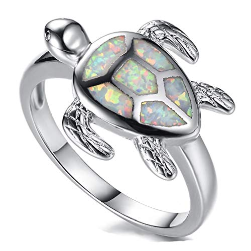 Health and Longevity Sea Turtle Birthstone Jewelry Sterling Silver Created Blue Opal Sea Turtle Earring Rings Pendant Necklace Length 18-20 inch (White Opal Rings 8#)