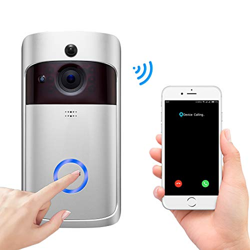 Doorbell Camera Video Doorbell WiFi Doorbell Wireless HD Chargeable Battery Power Motion Sensor Remote View Alert System Free Cloud Storage Front Door for Home Security (720P)