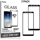 Teebo 2 Pack-Tempered Glass for Samsung Galaxy A6 (2018),[Black] Full Glue Black Screen Protectors Film Anti Fingerprint