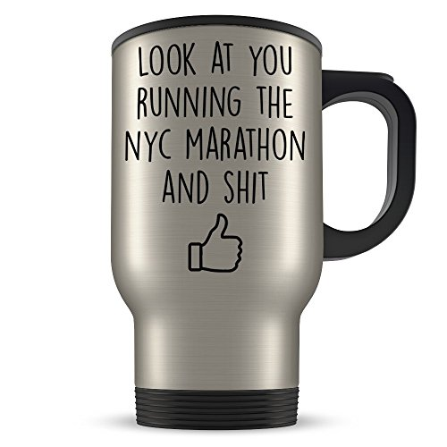 NYC Marathon Gifts for Men and Women - Funny Marathoner Travel Mug - Great New York City Marathon Gift Idea for Runners, Athletes, or First Timers Coffee (Nyc Marathon Runners)