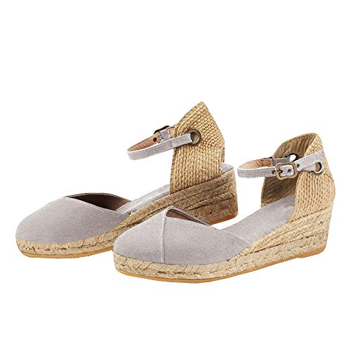 Handmade Wedge, Ankle-Strap, Closed Toe, Classic Espadrilles Heel